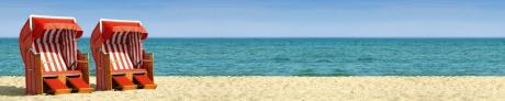 Strandpanorama mit rotweißen Strandkörben B800